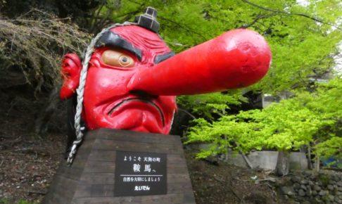 赤い顔と突き出た鼻の天狗