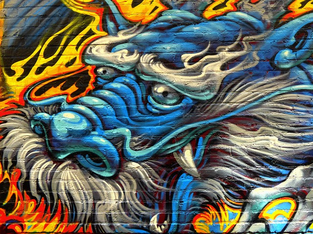 Dragon painting drawn on the wall in the street. 街角の壁に描かれた青龍の絵
