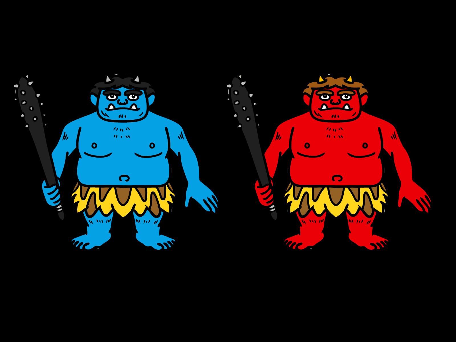 桃太郎でお馴染み、赤鬼と青鬼。やや肥満気味?