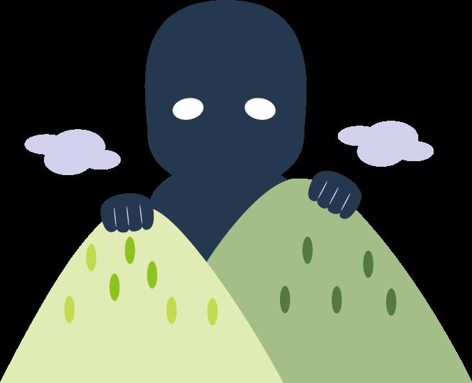 山から姿を見せるだいだらぼっち。真っ黒いからだに白い目。一見怖そう。