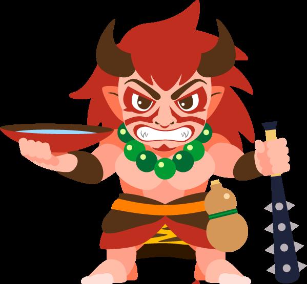 赤い長髪に歌舞伎のようなメイクをほどこした顔。片手には大きなさかずきと、黒い金棒。酒が源の大妖怪さまだ。